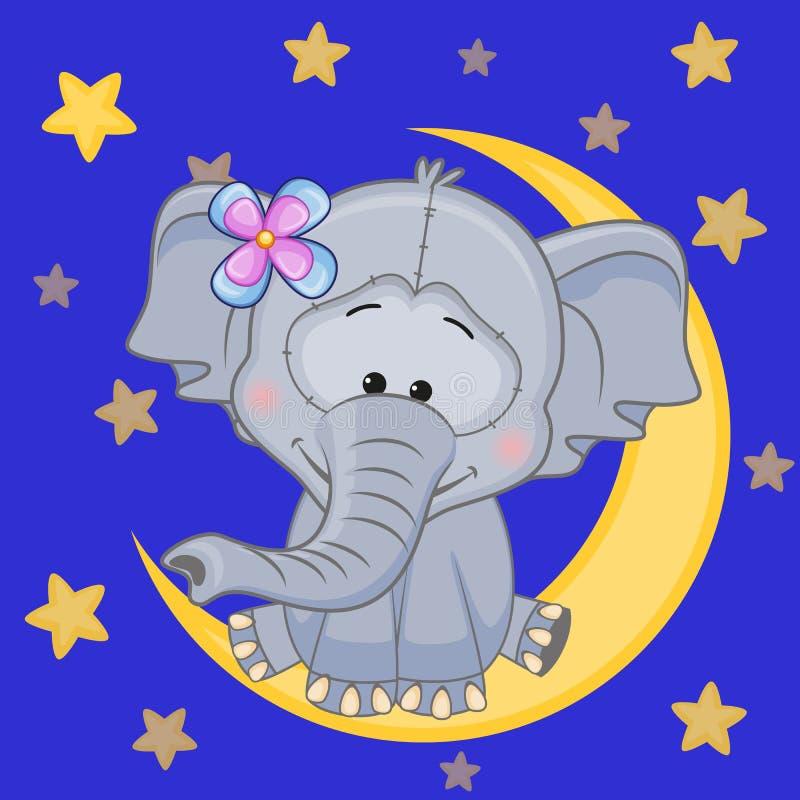 Elefante lindo en la luna stock de ilustración