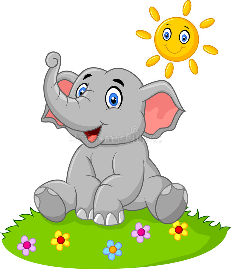 Elefante lindo que se sienta en la selva el tiempo de verano stock de ilustración