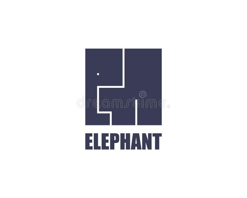 Elefante Logo Template Diseño plano del cubo moderno Caja fuerte animal salvaje de África stock de ilustración