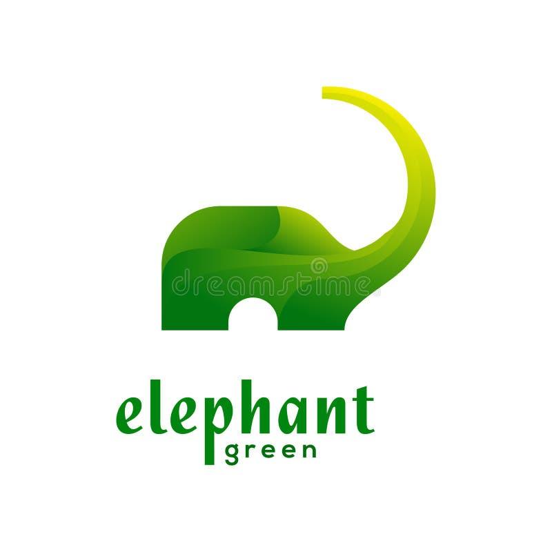 Elefante Logo Vector verde fotografie stock libere da diritti
