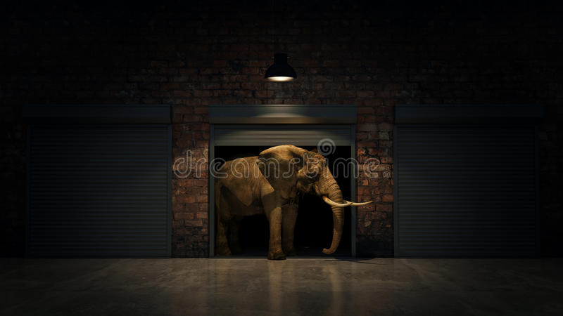 Elefante na porta do armazém Conceito creativo ilustração stock