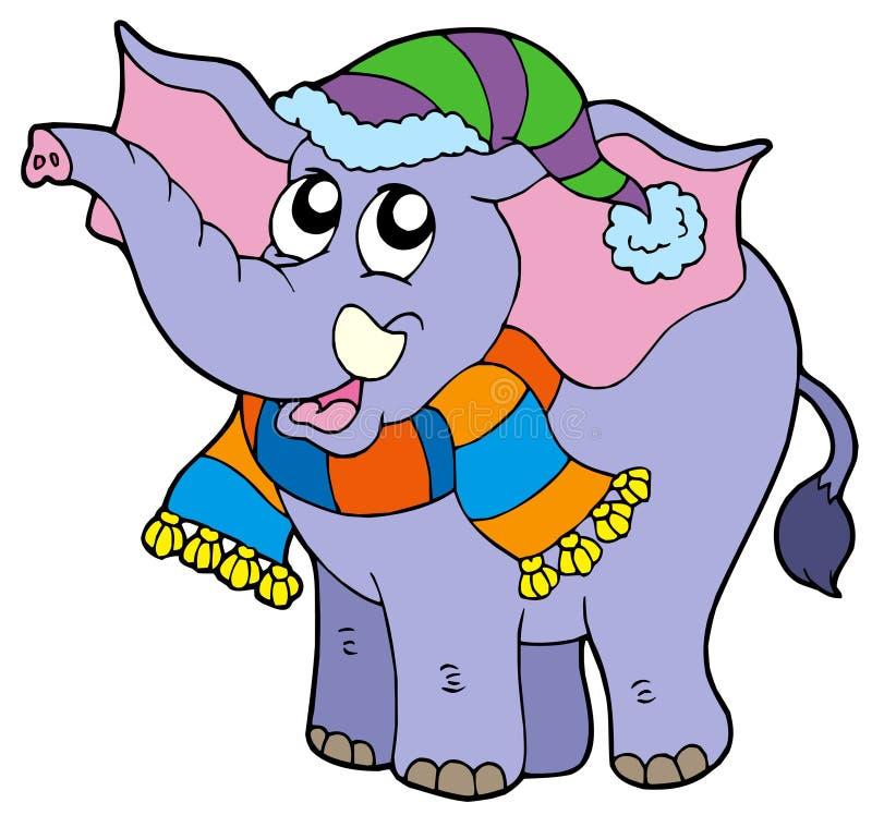 Elefante na roupa do inverno ilustração stock