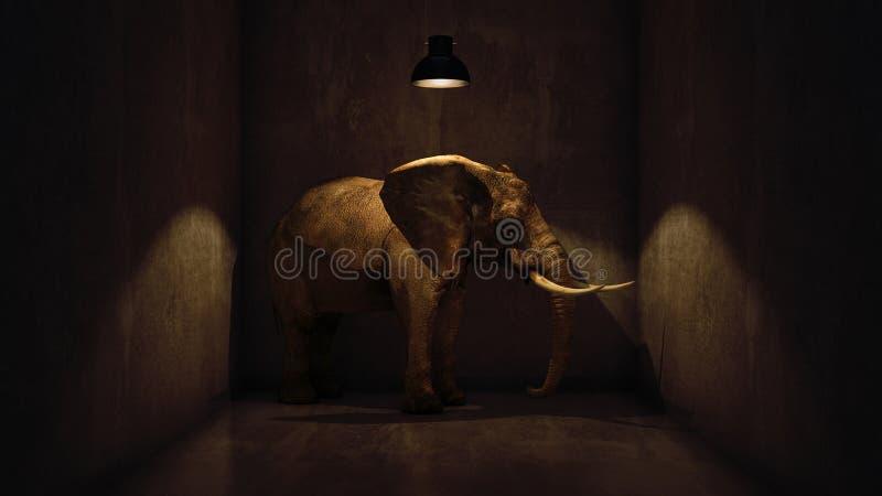 Elefante na sala perto da parede Conceito creativo ilustração stock