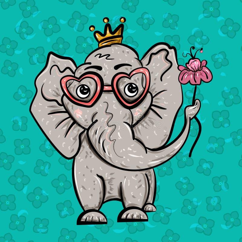 Elefante nella corona e con un fiore Giorno del `s del biglietto di S L'amore è dolce Festività di amore Illustrazione di vettore illustrazione vettoriale