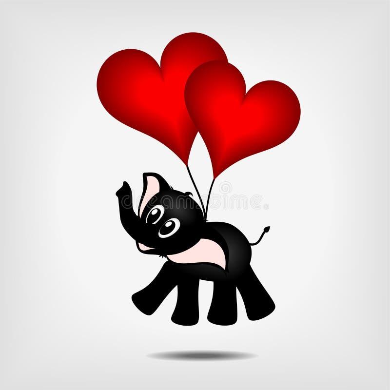 Elefante nero con due cuori rossi - aerostati royalty illustrazione gratis