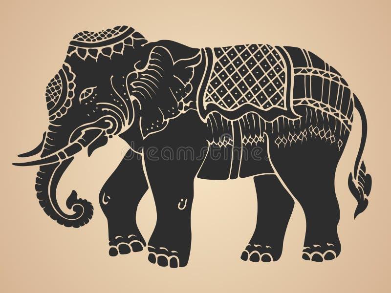 Elefante nero di guerra - vettore tailandese di progettazione di arte tradizionale illustrazione vettoriale