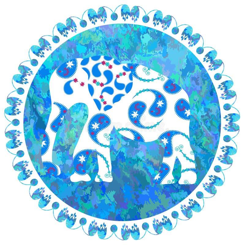 Elefante no fundo da aquarela, imagem ilustração royalty free