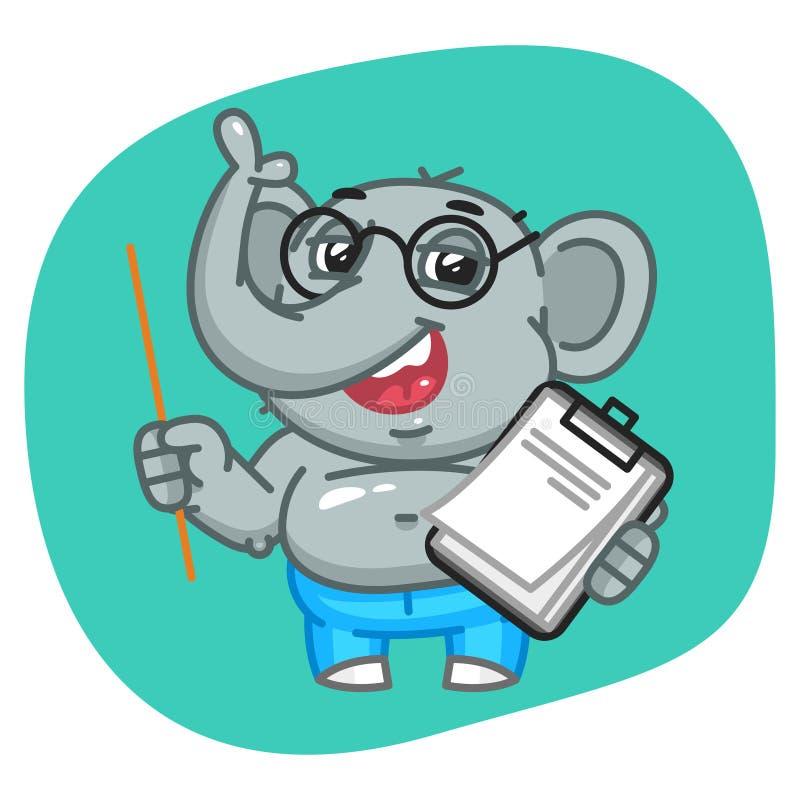 Elefante in pantaloni dei jeans che tengono puntatore e taccuino royalty illustrazione gratis