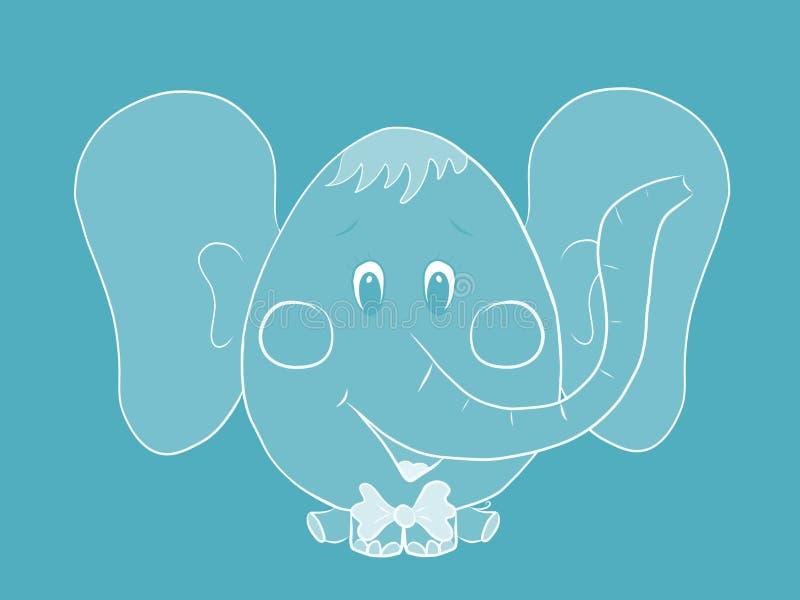 Elefante pequeno engraçado com uma cabeça oval grande e umas orelhas grandes ilustração do vetor