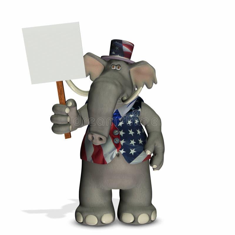 Elefante politico con il segno in bianco royalty illustrazione gratis