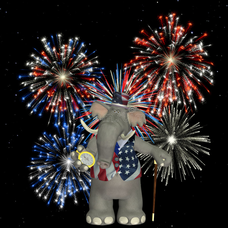 Elefante politico - fuochi d'artificio royalty illustrazione gratis
