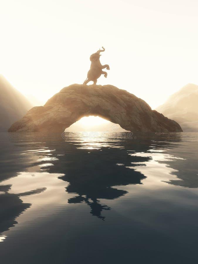Elefante que aumenta acima em uma rocha arqueada no lago imagem de stock royalty free