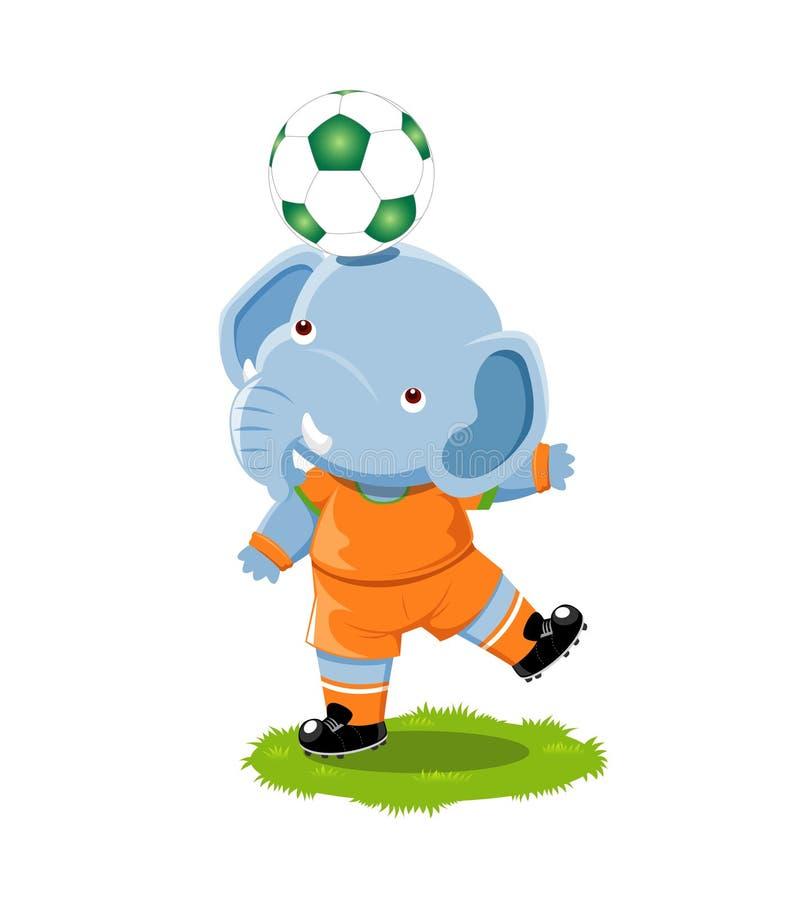 Elefante que juega al balompié ilustración del vector