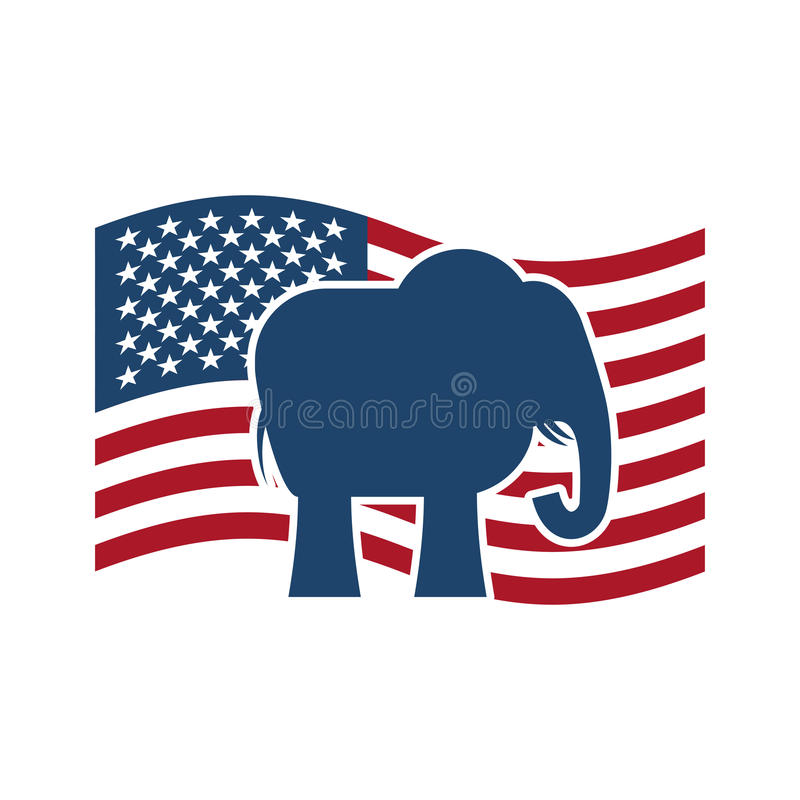 Elefante republicano y bandera de los E.E.U.U. Partido político América libre illustration