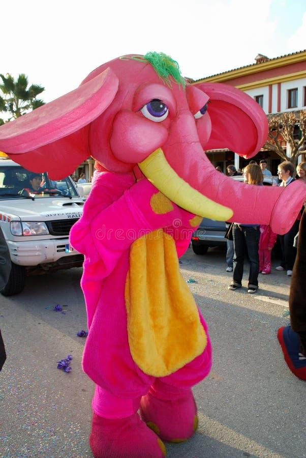 Elefante rosa ai tre re Parade, La Cala de Mijas, Spagna fotografia stock libera da diritti