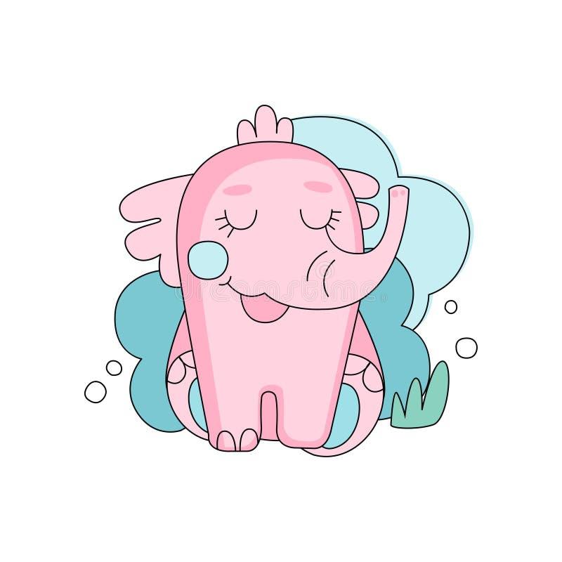 Elefante rosado dibujado mano linda que se sienta con los ojos cerrados contra fondo mullido azul de la nube Diseño linear para l stock de ilustración