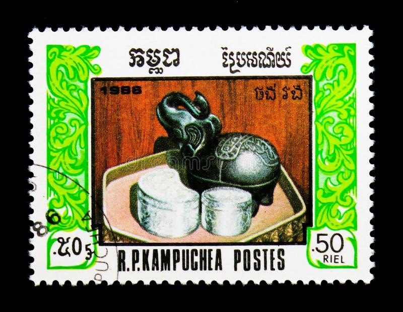 Elefante su un piatto, ottavo anniversario del fondare del fronte compatto del ` per serie nazionale, circa 1986 immagini stock