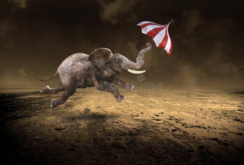 Elefante surrealista del vuelo, desierto solitario ilustración del vector
