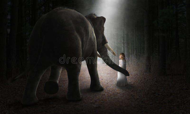 Elefante surrealista, muchacha, amigos, amor, naturaleza imagenes de archivo