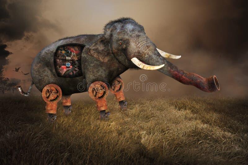 Elefante surrealista, piezas industriales de la máquina stock de ilustración