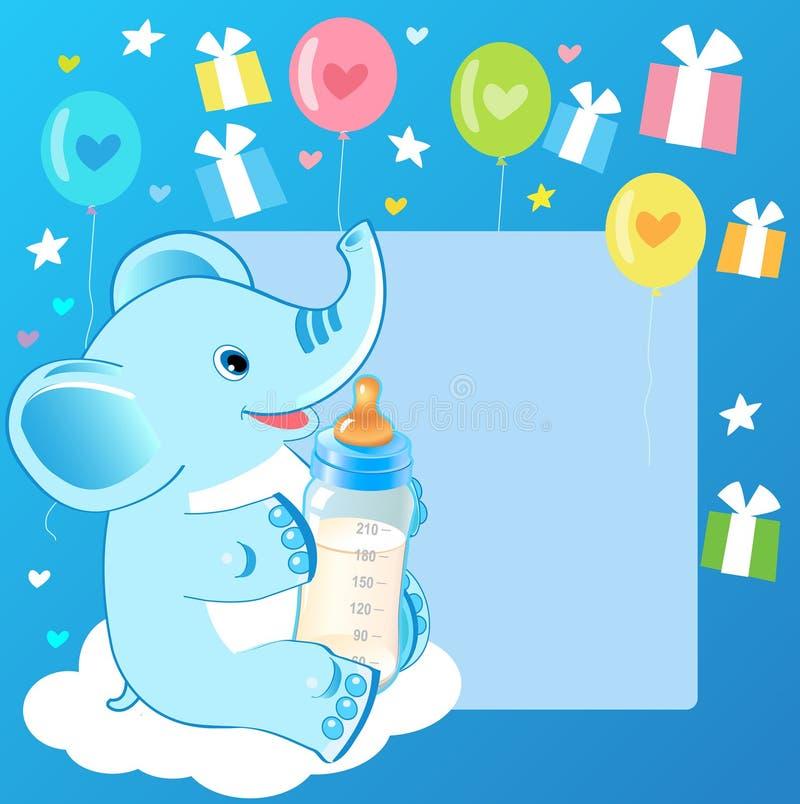 Elefante sveglio con la bottiglia per il latte Carta benvenuta del neonato illustrazione di stock