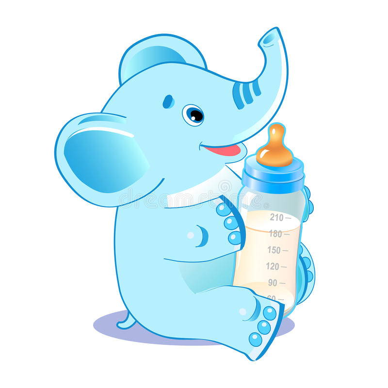 Elefante sveglio con la bottiglia per il latte Neonato benvenuto illustrazione di stock