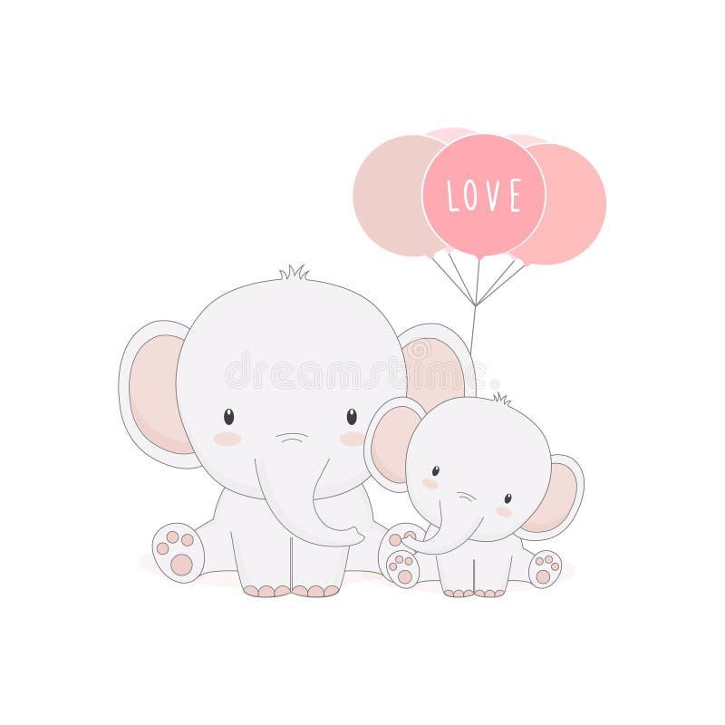 Elefante sveglio del bambino e della mamma con i palloni Carta di giorno del ` s della madre royalty illustrazione gratis
