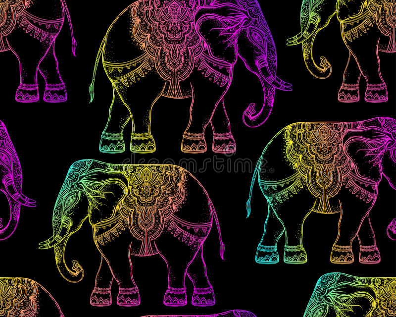 Elefante tribal a mano hermoso del estilo DES inconsútil del modelo stock de ilustración