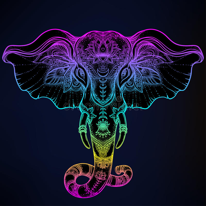 Elefante tribal a mano hermoso del estilo sobre mandala Colorfu stock de ilustración