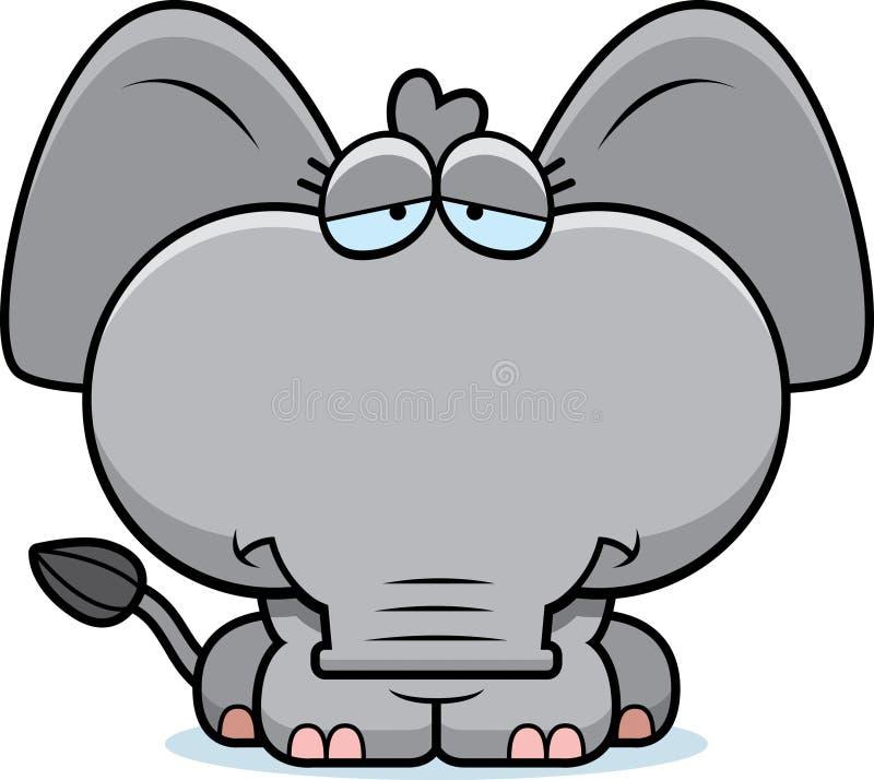 Elefante triste del fumetto illustrazione di stock