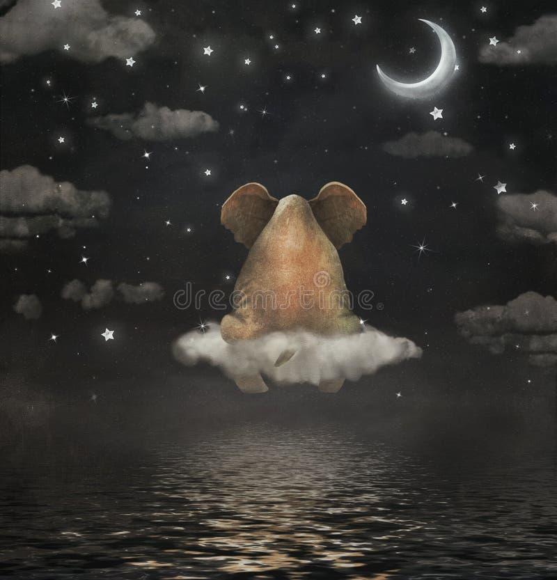 Elefante triste que se sienta en la nube en cielo stock de ilustración
