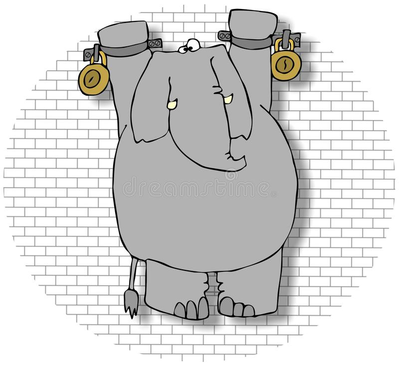 Elefante in un Dungeon royalty illustrazione gratis