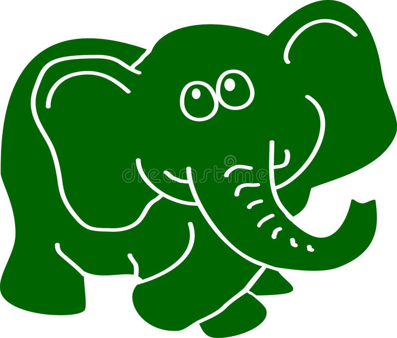 Elefante verde illustrazione di stock