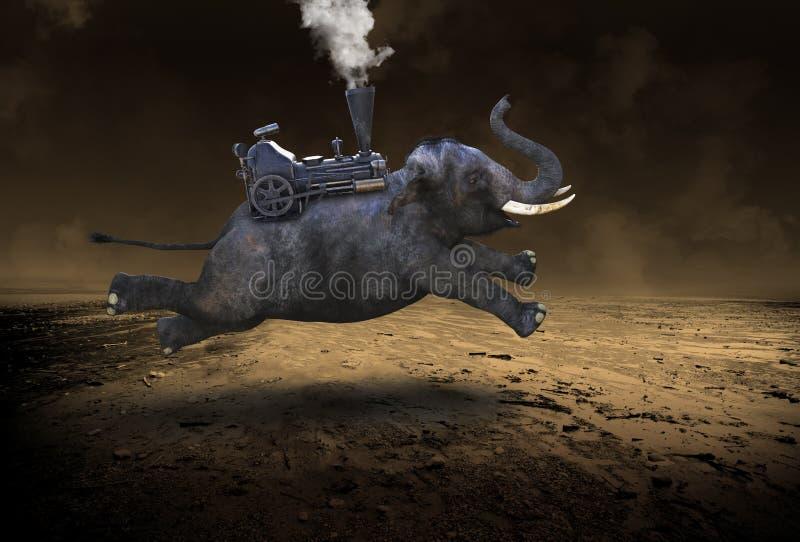 Elefante Voador Surreal, Desolado Deserto imagens de stock royalty free