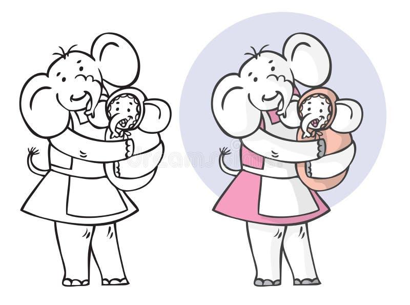 Elefante y bebé de la madre stock de ilustración