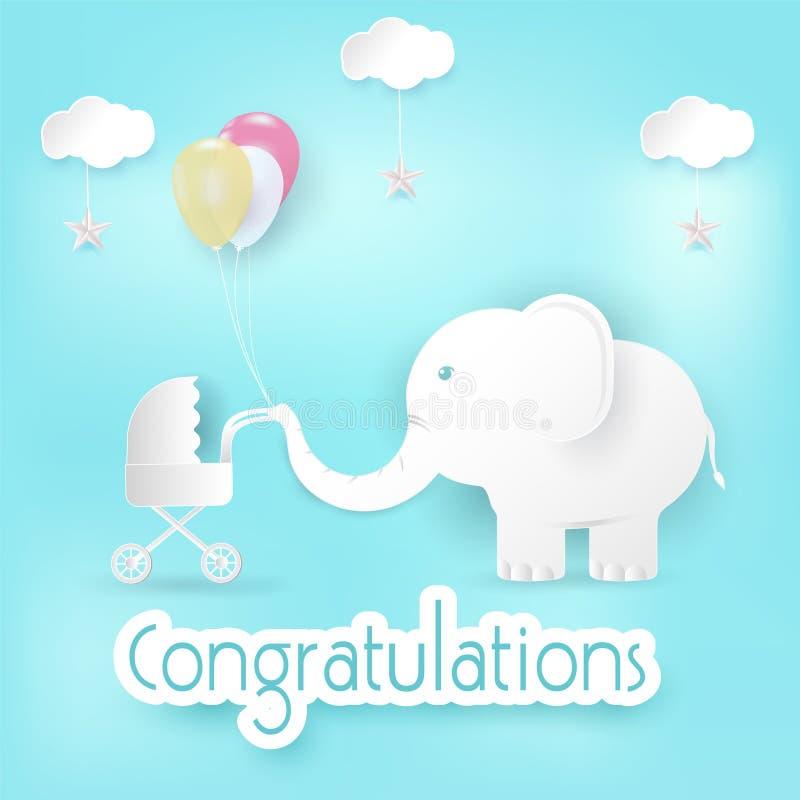 Elefante y globos con la tarjeta de la enhorabuena del cochecito de bebé ilustración del vector