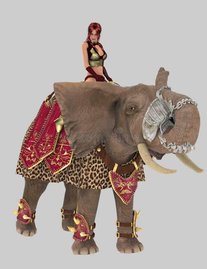 Elefante y guerrero de la guerra stock de ilustración
