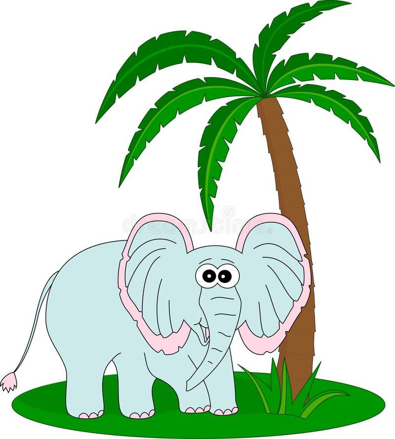 Elefante y la palma ilustración del vector