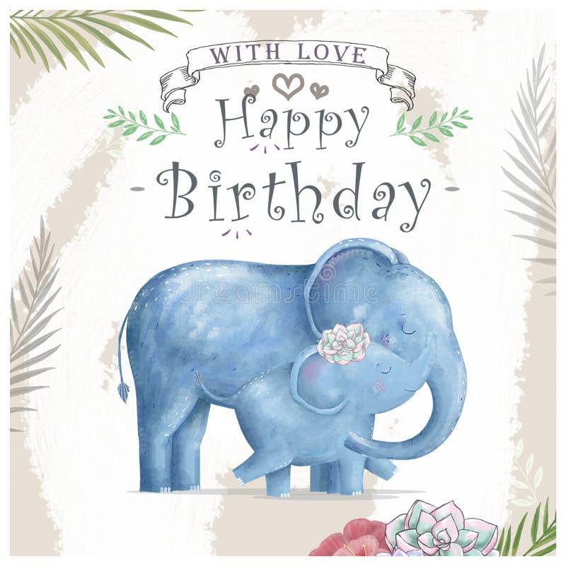 Elefante y madre del bebé de la acuarela Los elefantes lindos para la tarjeta de felicitación, cumpleaños, invitan, pintando el c ilustración del vector
