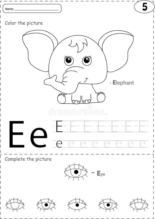 Elefante Y Ojo De La Historieta Hoja De Trabajo De Trazado Del ...
