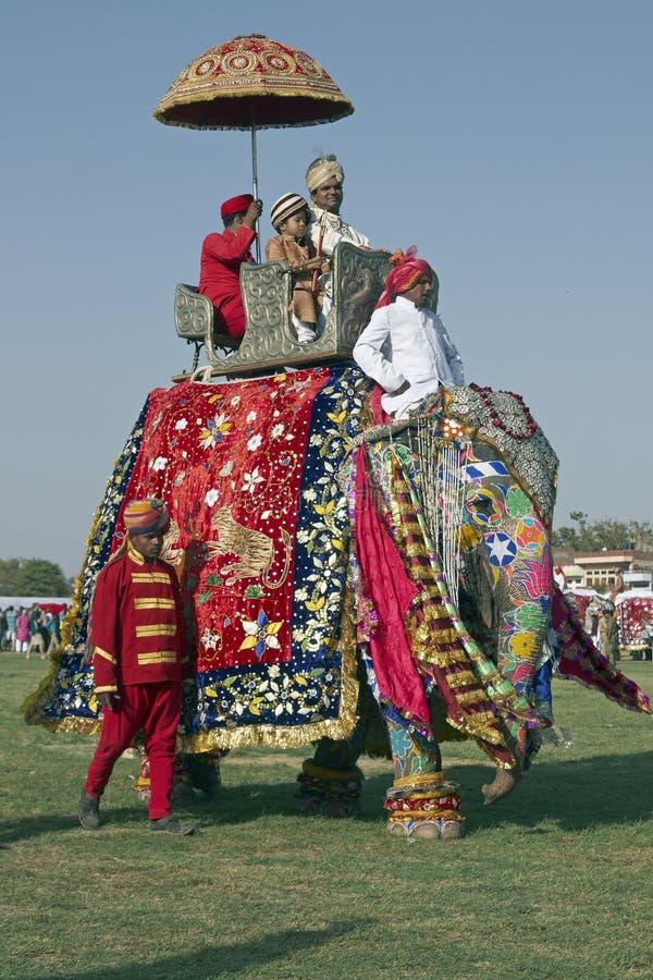 Elefante y pasajeros adornados fotos de archivo