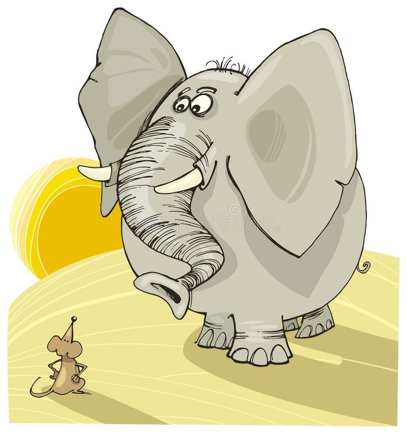 Elefante y ratón stock de ilustración