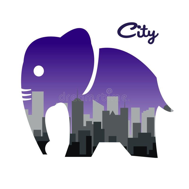 Elefanten av staden och bakgrunden, vektordesign royaltyfri illustrationer