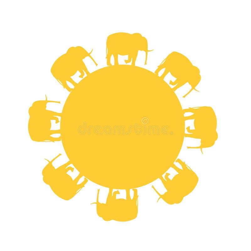 Elefanten, die in Kreise als die Sonne gehen stock abbildung