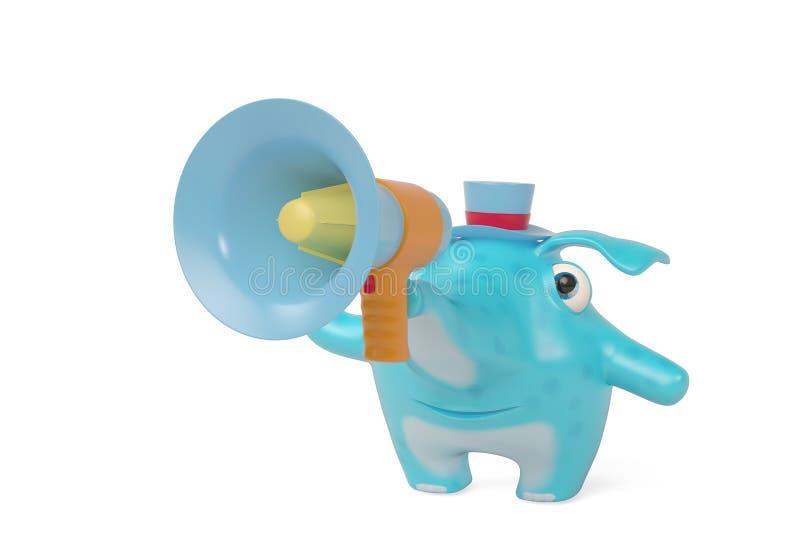 Elefanten einer Karikatur und Megaphon, Illustration 3D lizenzfreie abbildung