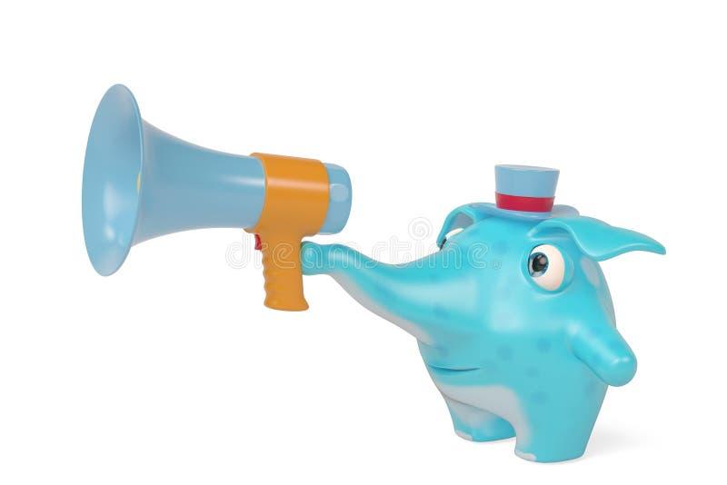Elefanten einer Karikatur und Megaphon, Illustration 3D stock abbildung
