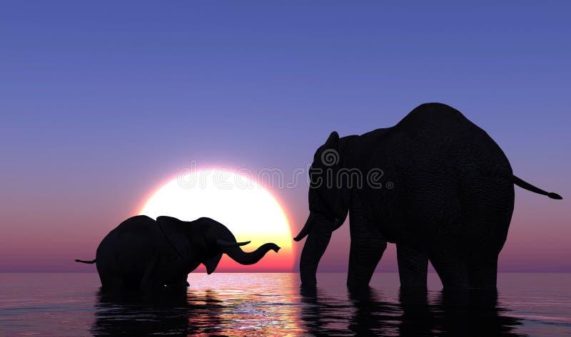 Elefanten im Meer. lizenzfreie abbildung