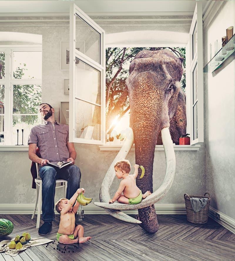 Elefanten och pojkarna vektor illustrationer