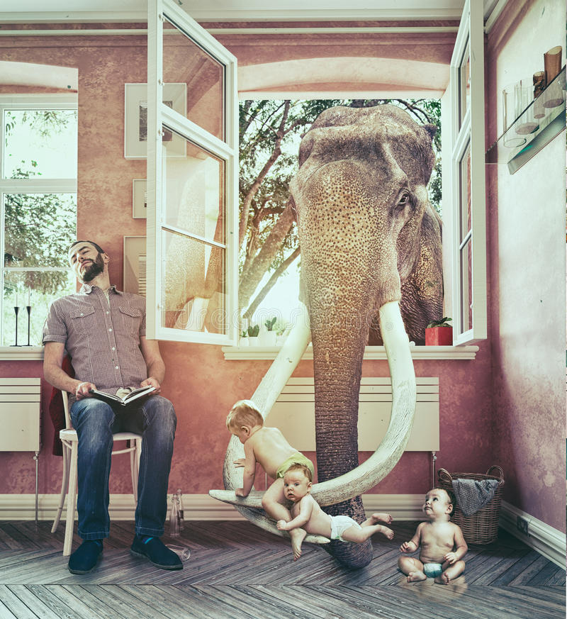 Elefanten och pojkeflykterna vektor illustrationer