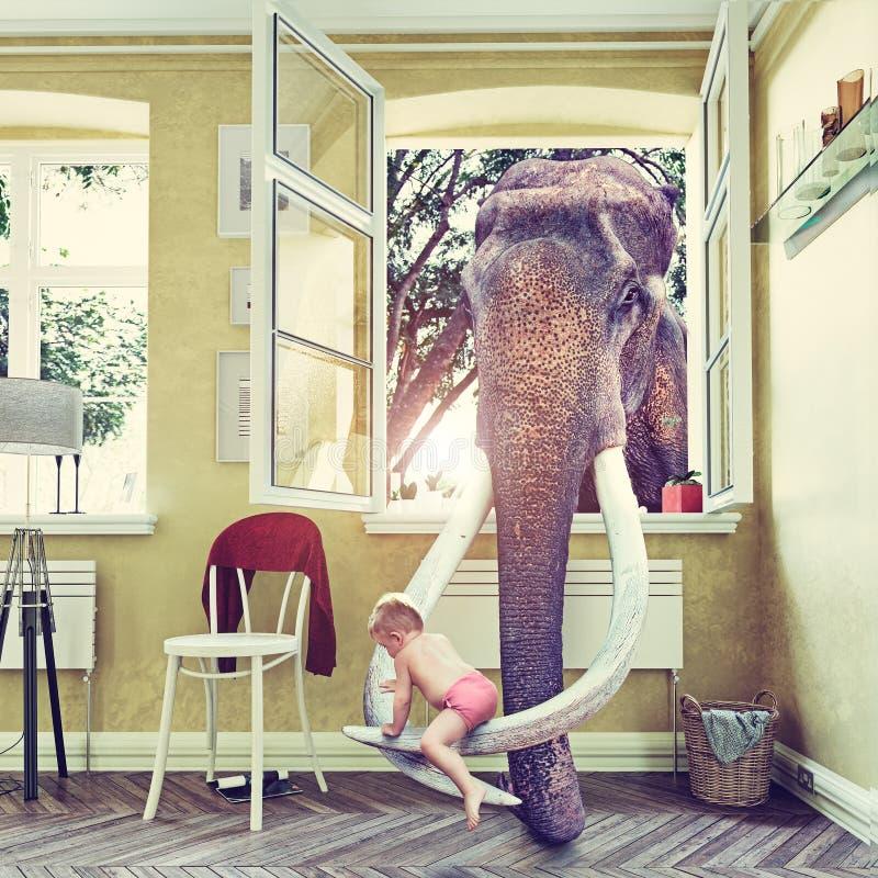 Elefanten och pojken vektor illustrationer